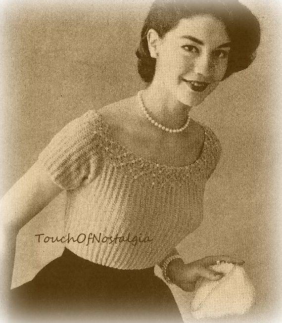 SMOCKED EVENING BLOUSE Vintage Knitting Pattern - Elegant Evening Blouse With Smocking and Beading Detail