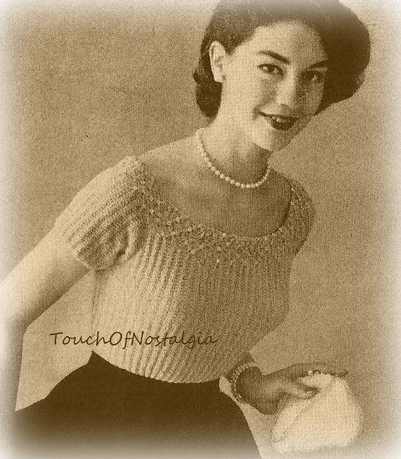 SMOCKED EVENING BLOUSE Vintage Knitting Pattern - Elegant Evening Blouse With Smocking and Beading Detail