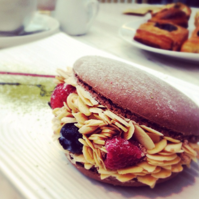Almond mix fruit macaroon with cream and chocolate mousse. Tea time ...
