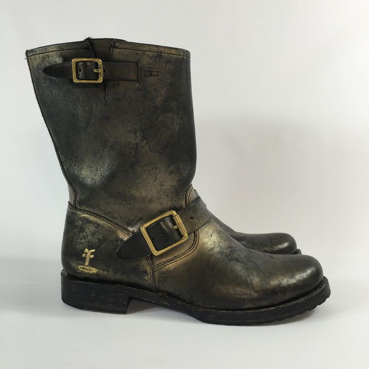 Frye Veronica Short Ankle Boot Coach Edition Black and Gold Size 9