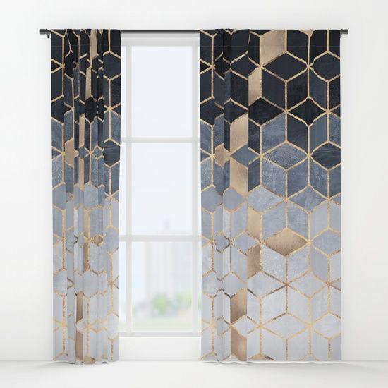 Soft Blue/Gold Gradient Cubes Window Curtains