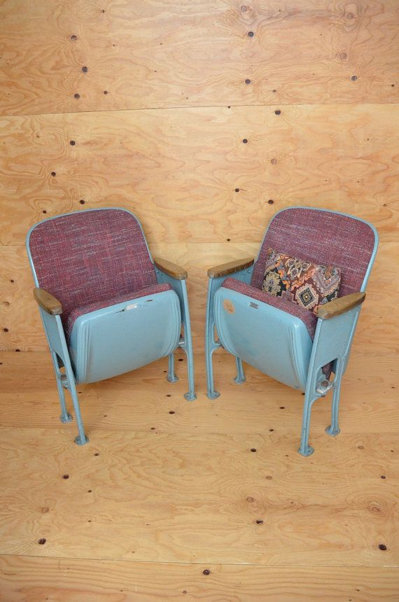 reserved for elizabeth vintage 50u0027s movie theater chairs set of 2 blue u0026 purple industrial grade folding seats - Movie Theater Chairs