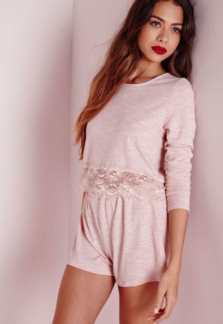 Lace Hem Ribbed Pyjama Set Nude - Nightwear - Pyjamas - Missguided
