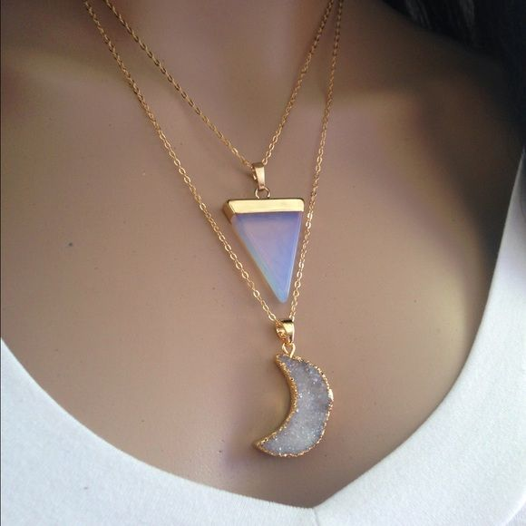 Moon druzy&Opalite Triangle Layered Necklace Bundle deal These gorgeous layering necklaces are sure to fit perfectly with your boho attire. You will get both necklaces. They are not attached. Wear them together for this gorgeous layering look or wear them separately,your choice! Both pendants are gold plated, with 18k plated gold chain.  Abbie's Anchor Jewelry Necklaces