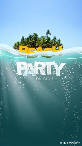 Summer beach party in ocean