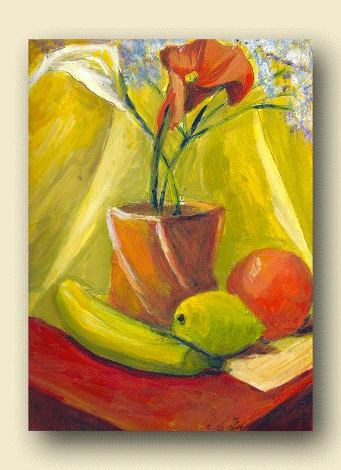 """Still Life with Banana"" acrylics on bristol.Original by Joanna Lazuchiewicz 2014"
