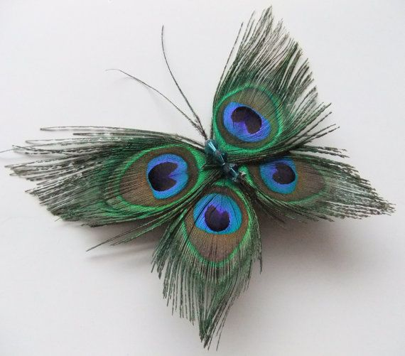 """@Jessica Olson Gibson look at  This gorgeous butterfly hair clip was made using 4 small lightly trimmed peacock feathers and 3 teal blue crystal beads. It can be worn many different ways in the hair or clipped on whatever you would like. It is approx. 5"""" wide by 2.5"""" tall and fits securely in hair with a 1"""" alligator clip:"""