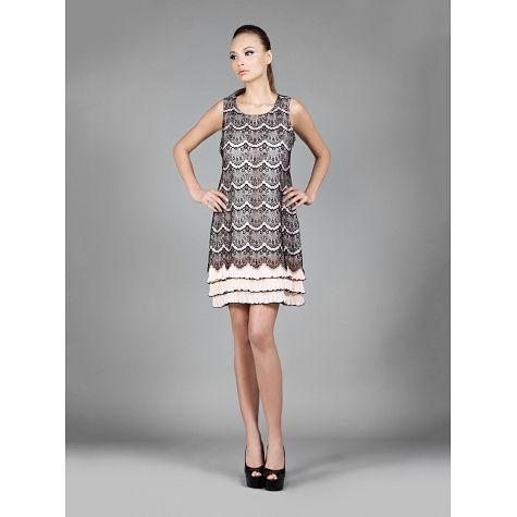 Φόρεμα κοντό δαντέλα με φαρδιές τιράντες