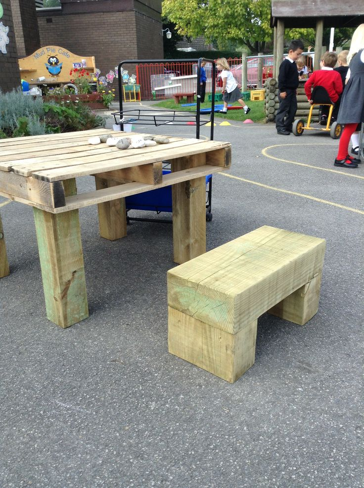 New additions to our outdoor area!  Upcycled pallet and railway sleeper table and stool, a perfect height for the children to stand or sit at  EYFS outdoor learning
