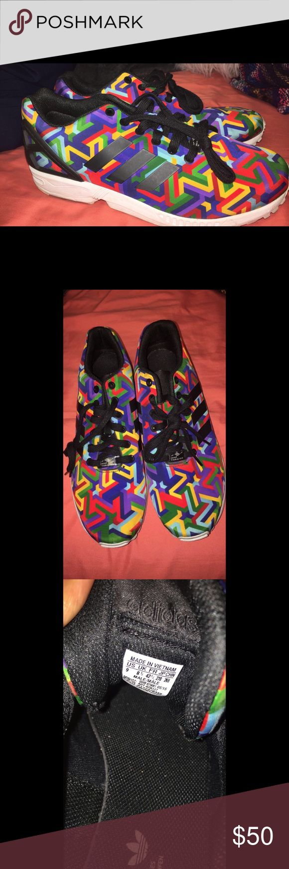 Men's Adidas ZX Flux Multicolor Only worn once! Great condition. Will negotiate. adidas Shoes Sneakers