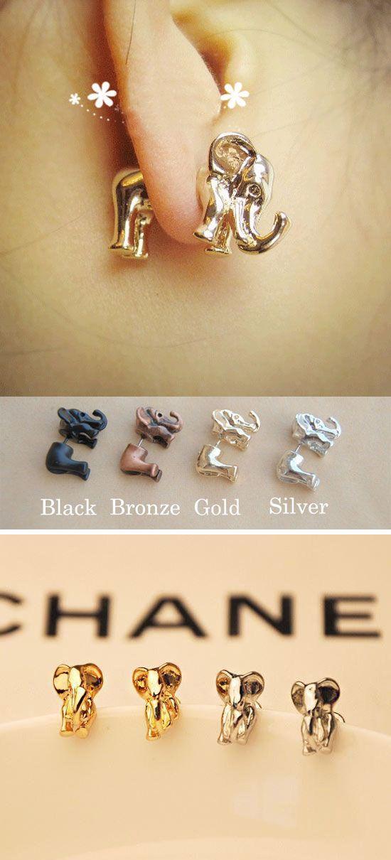 which color do you like? Funny Cute 3D Elephant Earrings Studs #earring #cute #3D #elephant #fashion #funny