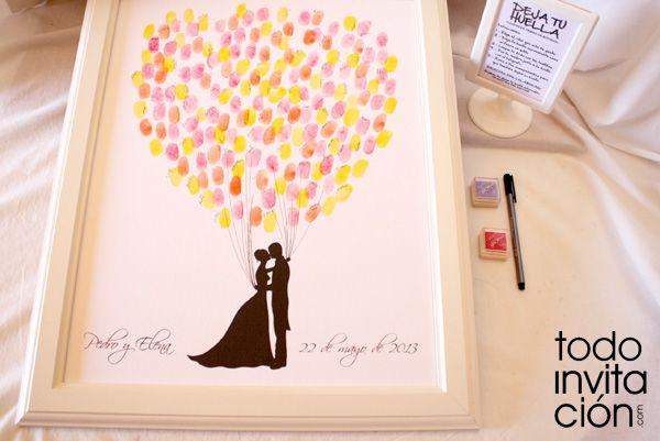 Cuadro de firmas con huellas para invitados de boda www.totoinvitacion.com