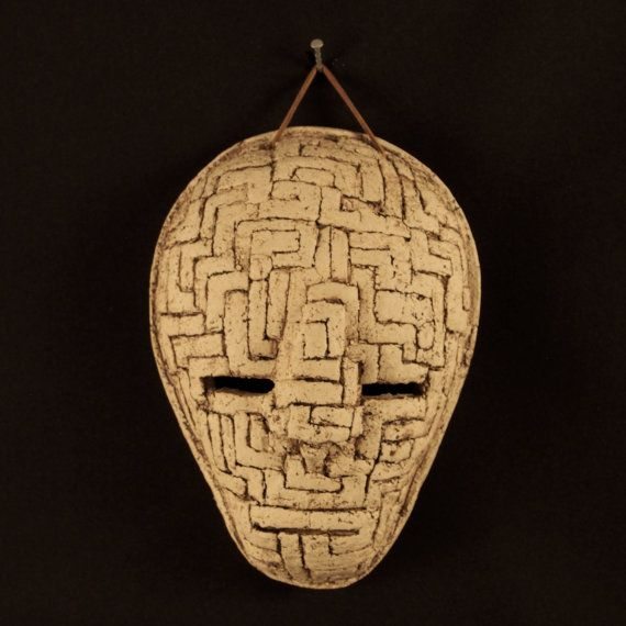a Ceramic mask, made by Juri Etto, sold on Etsy. Ceramic, Stoneware, Sculpture, maze
