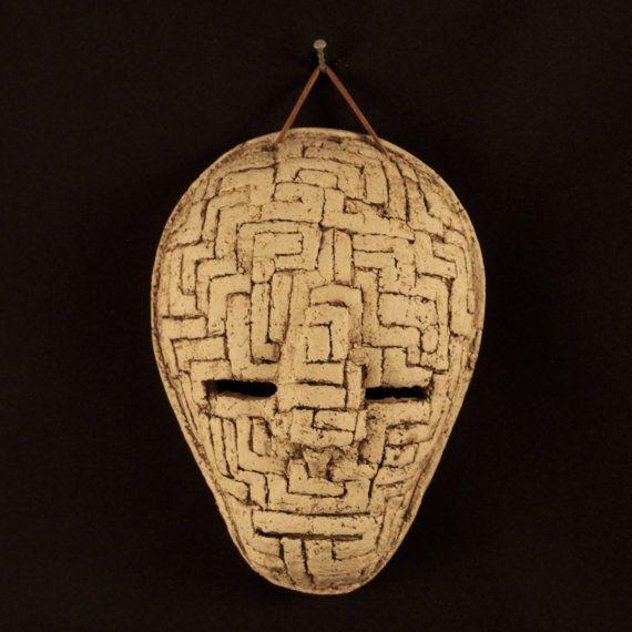 a Ceramic mask, made by Juri Etto, sold on Etsy. Ceramic, Stoneware, Sculpture, maze