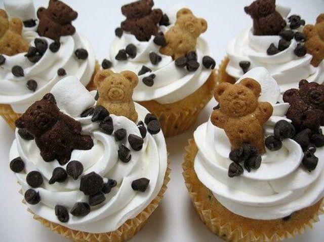 Cute teddy bear cupcakes: Sweet, Teddy Graham Cupcakes, Teddybear, Teddy Bears, Food, Party Ideas, Baby Shower