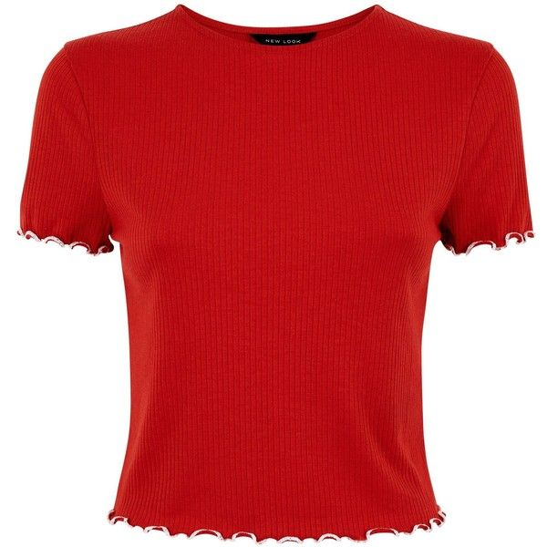 Red Ribbed Contrast Frill Edge T-Shirt (40 PEN) ❤ liked on Polyvore featuring tops, t-shirts, ruffle trim top, ribbed tee, rib t shirt, frilly tops and ruffle top