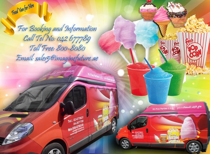 Food Van for Hire!!! Hire it for your Party and for your upcoming Events.  Food van includes popcorn, your flavor choice of slushes, colorful, sweet cotton candy and ice cream. For More information Call Tel No: 042 677789 Toll Free No: 800-8080 Email: sales5@imaginefuture.ae Facebook: https://www.facebook.com/ImagineFutureEvents/ #rental #foodvan #pocorn #cottoncandy #van #food #icecream #slush #events #party #birthday #festival #corporate #weddings #privateparty #uae #dubai #mydubai #mycity