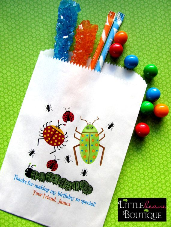 Bug Birthday party, Bug Candy Bags, Bug Favor bags, Birthday party, Sweets, Treats,Set of 24