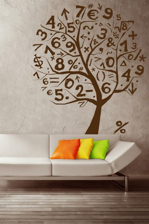 Pin by on flowers trees math classroom - Wall decoration ideas for bedrooms ...