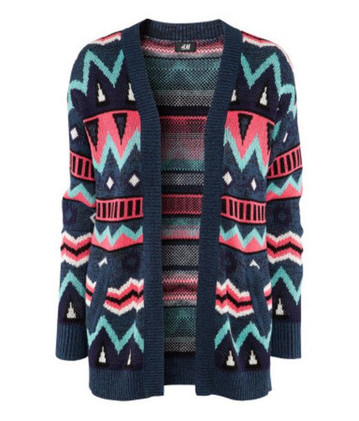 Sweater: knit cardigan, ethnic, ethinc print, aztec, aztec print, ethnic pattern, aztec pattern, blue, green, pink, purple, black, colorful, geometric, sold out, autumn, winter, 2012, 2012-2013, pullover, h&m, cardigan, knit - Wheretoget