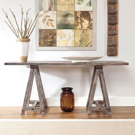 Signature Design By Ashley Rustic Accents Rectangular Brown Console Table