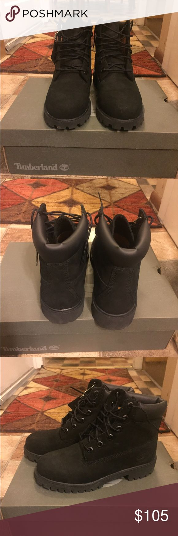 Black Timberlands -All black timberlands. They are in perfect condition & were only worn one time! Just weren't my size. Timberland Shoes