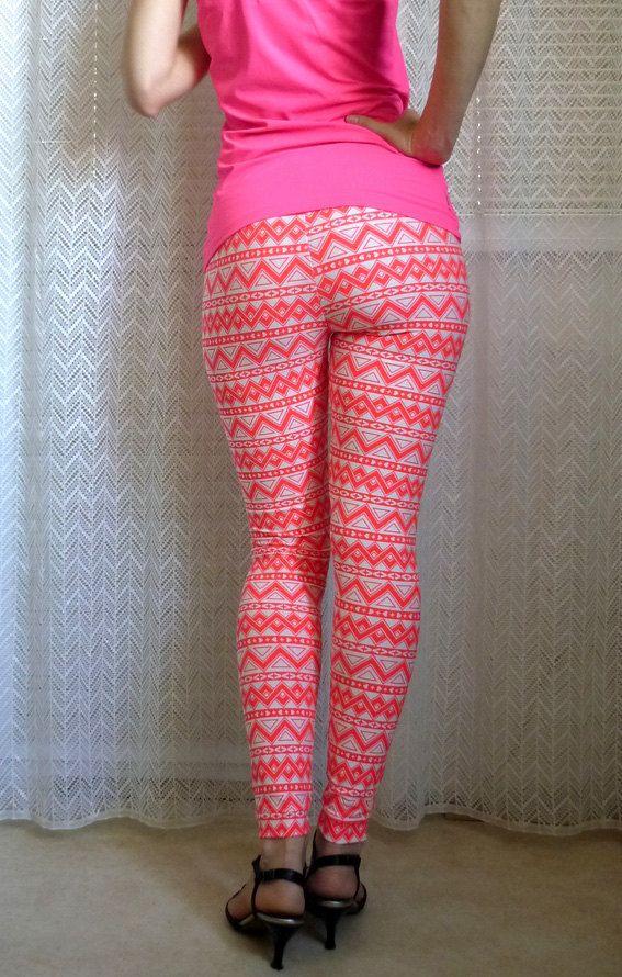 Womens Yoga Leggings  Aztec Print Leggings Neon Leggings