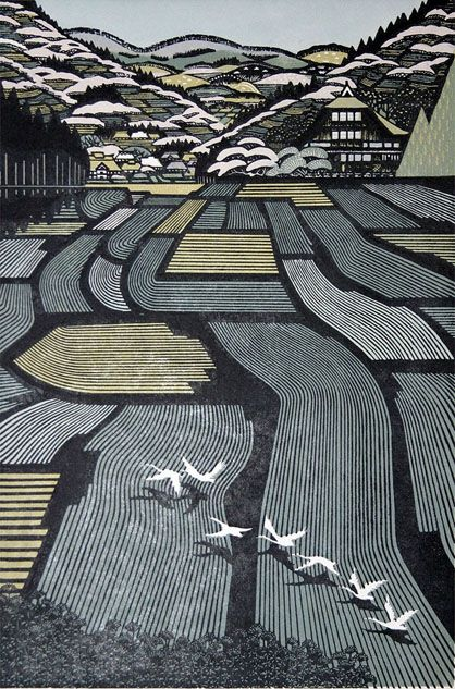 My god this is stunning! Woodblock art never ceases to astound me. House in Tamugimata - woodblock print by Ray (Rei)  MORIMURA, Japan 森村 玲 [田麦俣の家]