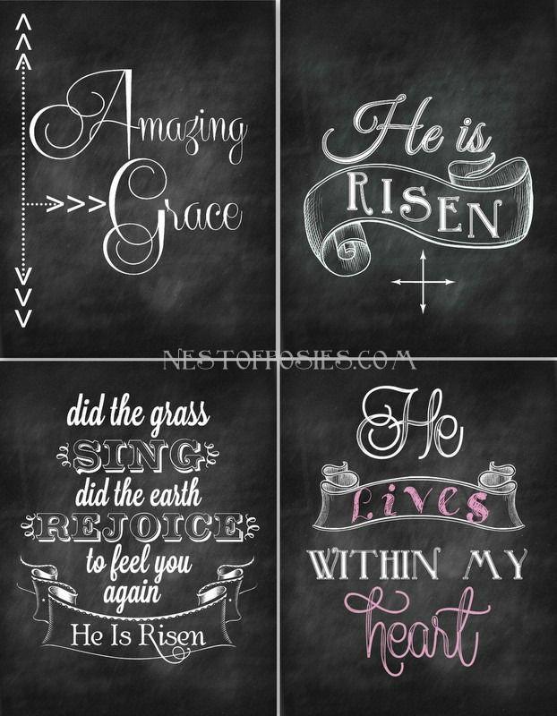 Easter Chalkboard Printables - Nest of Posies