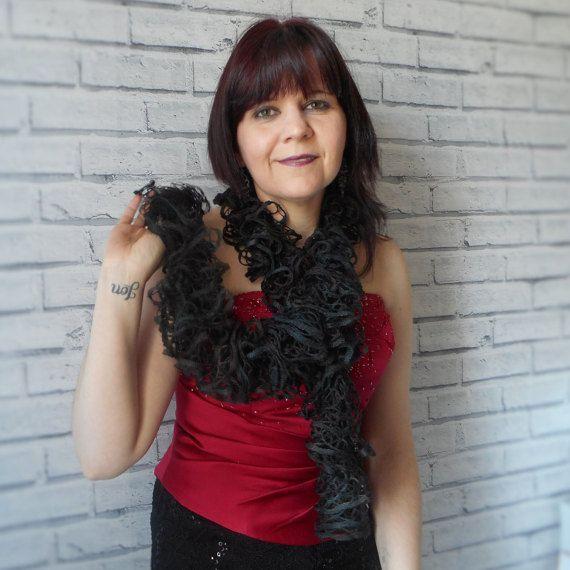 Gothic sashay scarf Black ruffle scarf Knitted by KwirkyKnitsUK