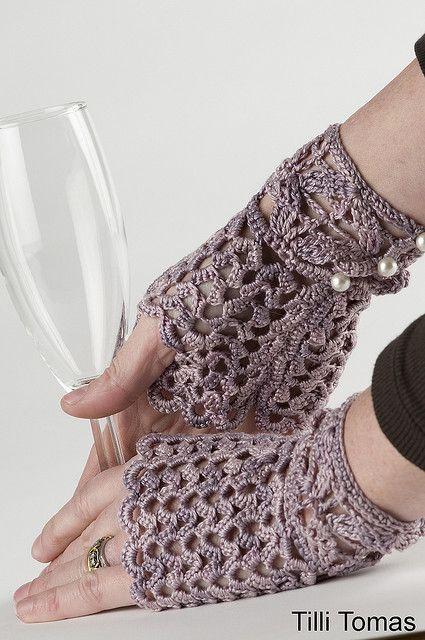 Afternoon Tea Fingerless Gloves - chrochet - TilliTomasGlove2 by doraohdiva, via Flickr
