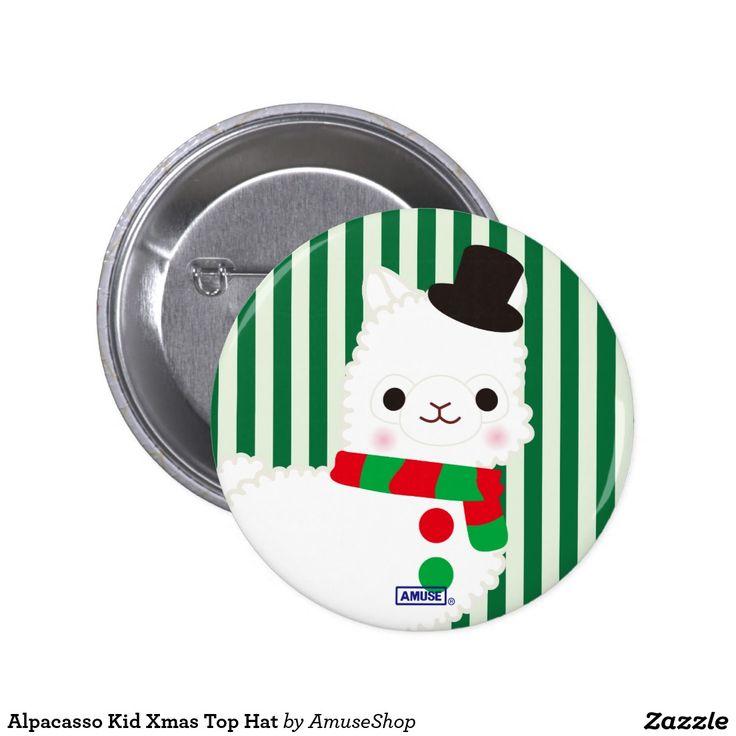 Alpacasso Kid Xmas Top Hat 2 Inch Round Button
