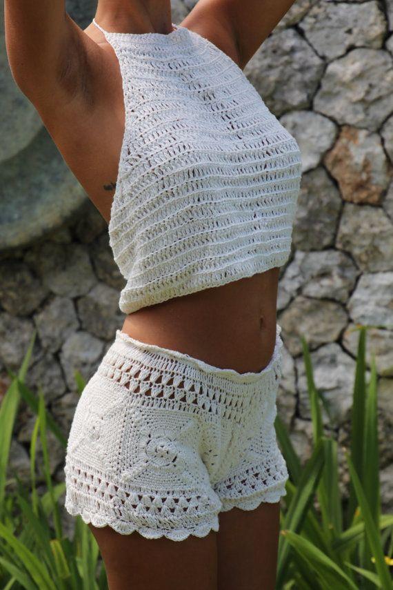 Clohe handmade crochet beach short, cream crochet shorts, casual crochet short