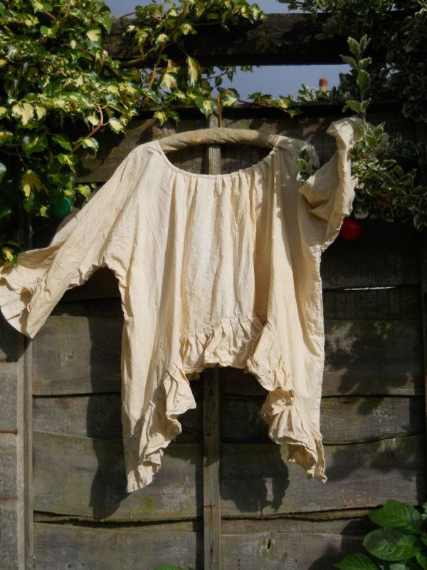 RITANOTIARA Romantic Lagenlook Linen  Asymmetric Artist poet shirt Tank Top ruffled frills layer look quirky funky OSFA