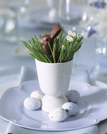Easter idea - wheat grass setting with chocolate bunny
