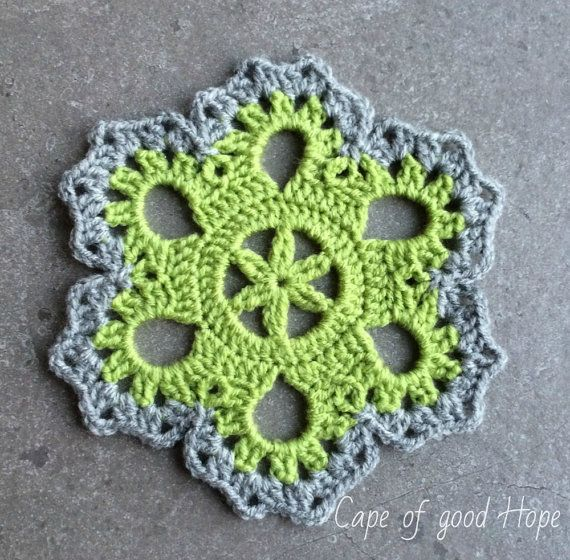Light-green chrochet doily, coaster, rug - in medium thick yarn, lace, trivet, blue