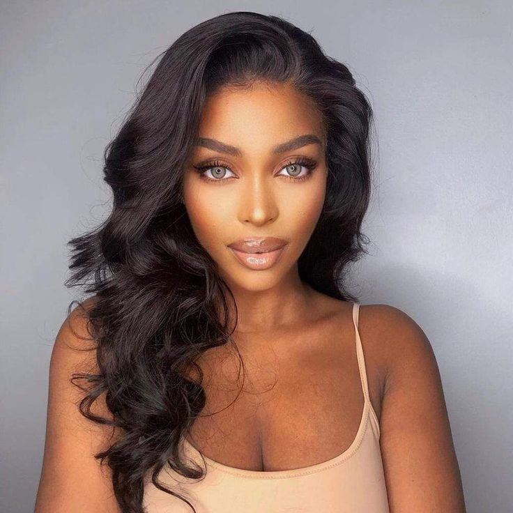 """7A Grade Body Wave Extension 100% Human Brazilian Virgin Bundle Hair Long Wavy Style Weave 3 Bundles with 13x4 Lace Frontal Look 7A Virgin Body Wave Bundle Hair 16 / 18 / 18"""" 7A 13x4 Lace Frontal Virgin Body Wave 14"""" Total 4 Pieces- 3 Bundles Hair & Lace Closure at $265 100% Brazilian Human Hair Extension Body Wave Bundle Hair Weave. High quality, affordable prices, soft and silky, natural black color, machine wefted, body wave virgin hair extension can be bleached and dyed, no shedding. Pro Weave Hairstyles, Straight Hairstyles, Wedding Hairstyles, Black Hair Extensions, Human Hair Extensions, Weave Extensions, Blowout Hair, Natural Hair Blowout, Body Wave Hair"""