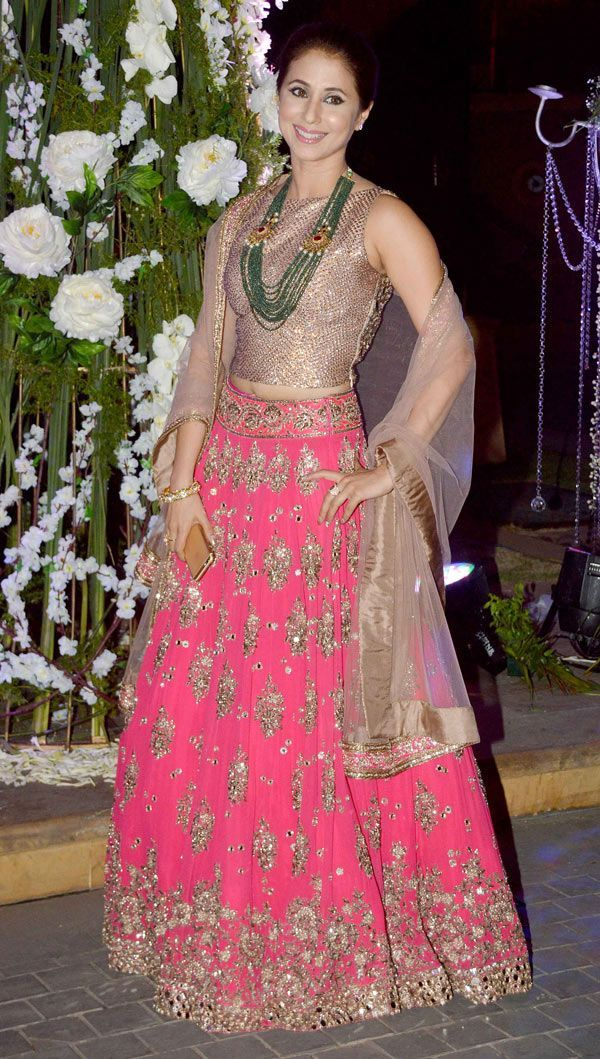 Urmila Matondkar in pink mirror work lehenga choli