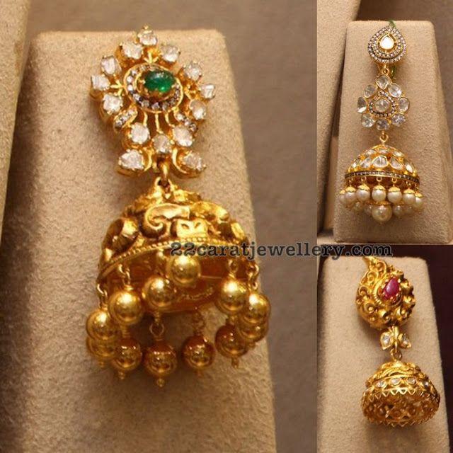 904c227f90b4a Antique Pachi and Diamond Jhumkas   addicted to jewelry   Diamond ...