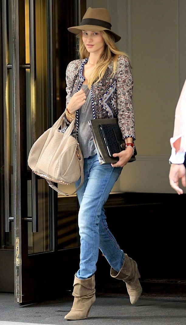 Jacket Boots Isabel Marant Hat Rag & Bone Bag Alexander Wang Rosie Huntington-Whiteley New York City