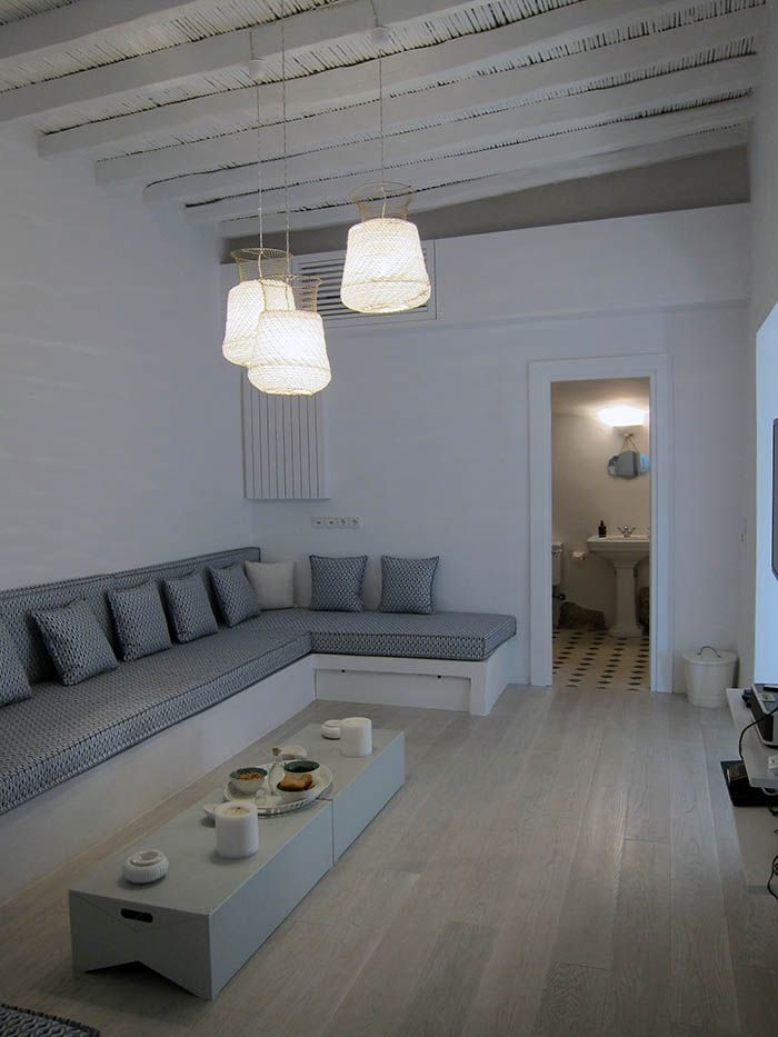 our Colimbo lamps and Box stools in a village house in Kithira island, Greece