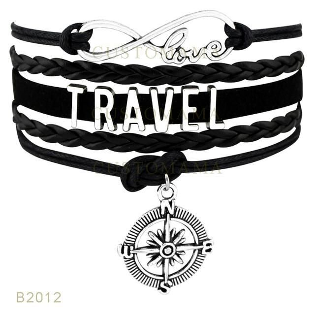 Infinity Love Travel Compass Charms Bracelets For Women Men Jewelry – Loucrative Travel Goods