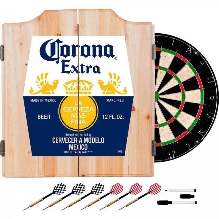 Corona Dart Board Set with Cabinet 6 Steel Tip Darts and Sisal Fiber Dartboard #TrademarkGlobal