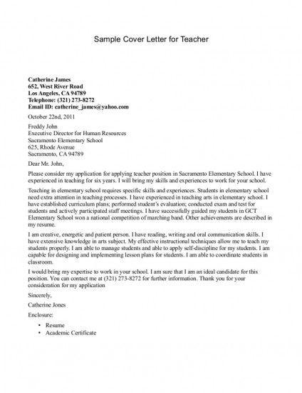 13 best Teacher Cover Letters images on Pinterest Cover letter - how to write a cover letter for teaching