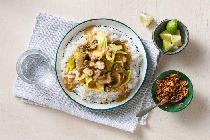 Vegan rendang met spitskool en paddenstoelen - Recept - Allerhande