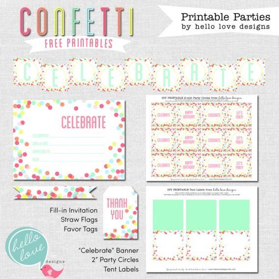 Confetti Party Inspiration & A Freebie » Hello Love Designs