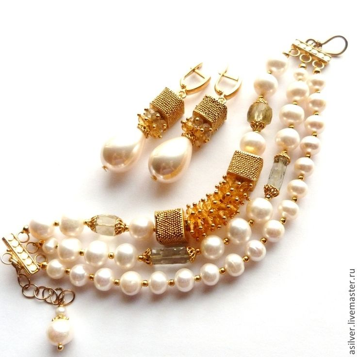 """Купить Браслет """"Бьянка"""" - белый, жемчуг в золоте, жемчужный браслет, браслет из жемчуга, позолоченный браслет"""
