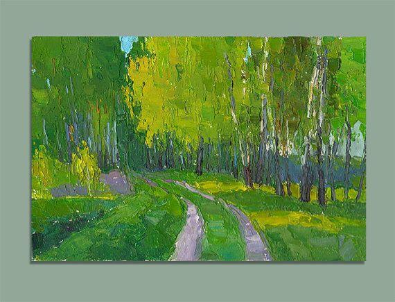 Spring Landscape Original Oil Painting Palette Knife Painting