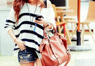 cuteSweaters, Fashion, Summer Outfit, Style, Clothing, Jeans Shorts, Stripes, Bags, Dreams Closets