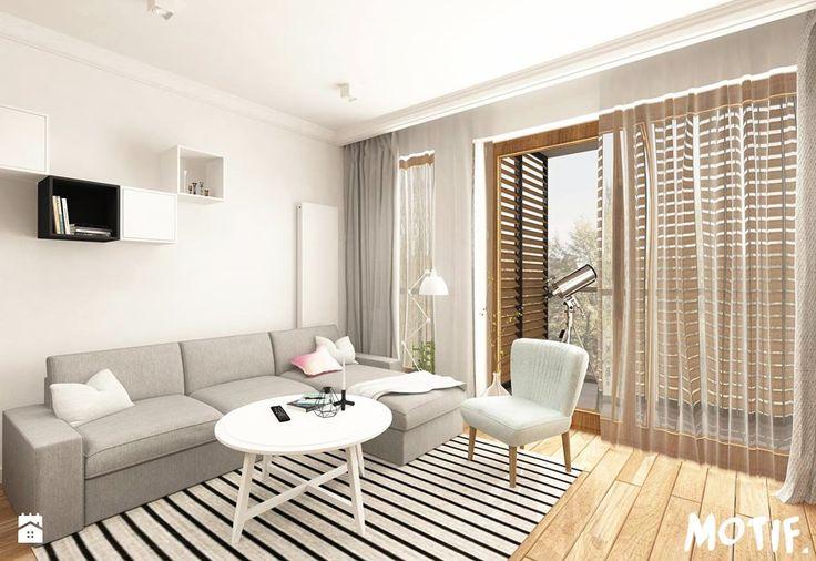 Tamka 29- I propozycja - Średni salon z tarasem / balkonem, styl skandynawski - zdjęcie od MOTIF